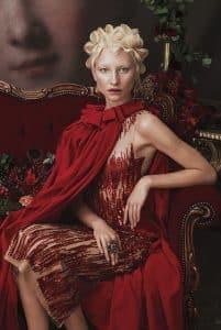blonde model in red wit finger waves