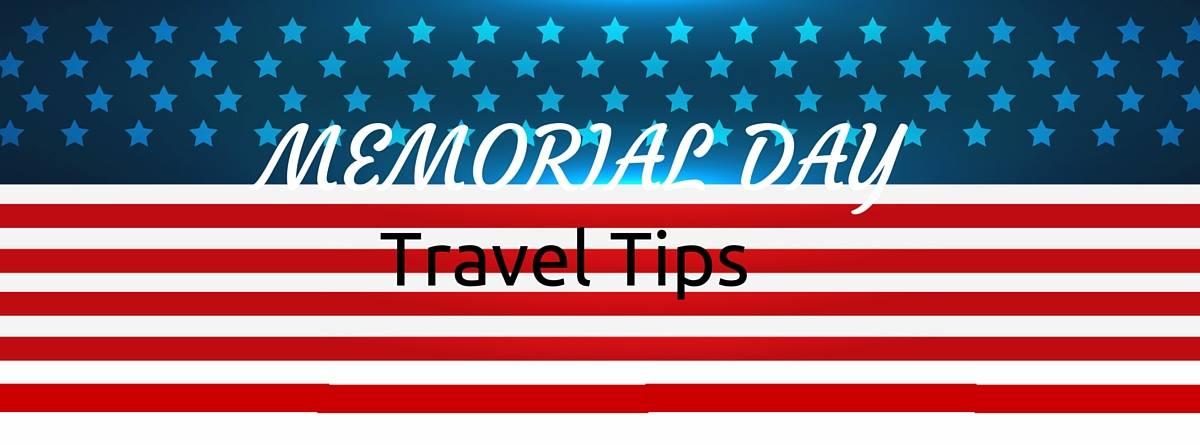 travel tips header on flag pattern background