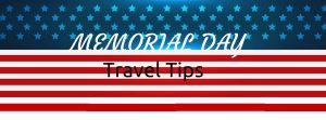 travel tips header on flag pattern background