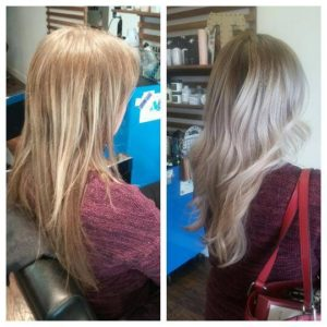 blonde before and after curly hair