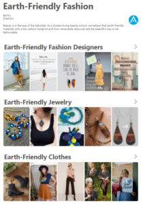 screenshot of earth-friendly fashion pinterest boards