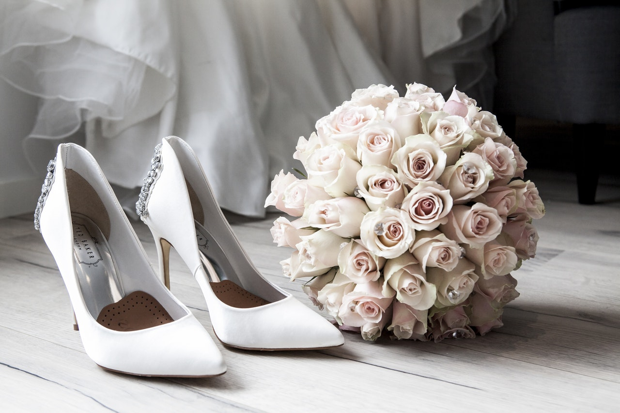 wedding shoes and a bouquet