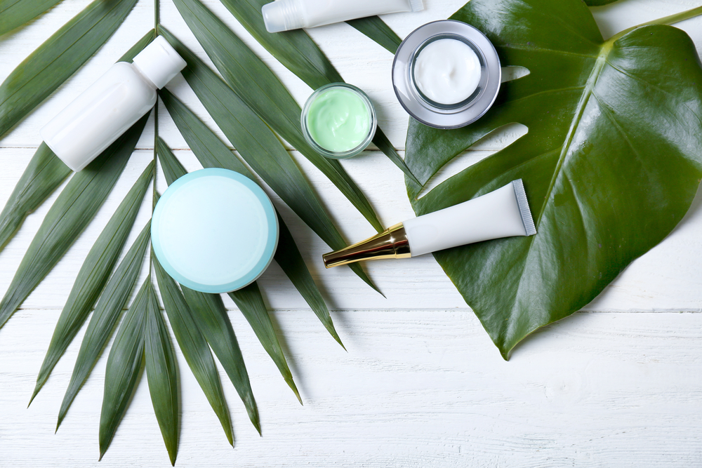 skin care products on leaves