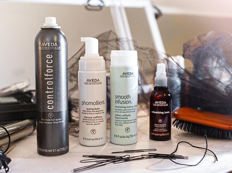 aveda products on table
