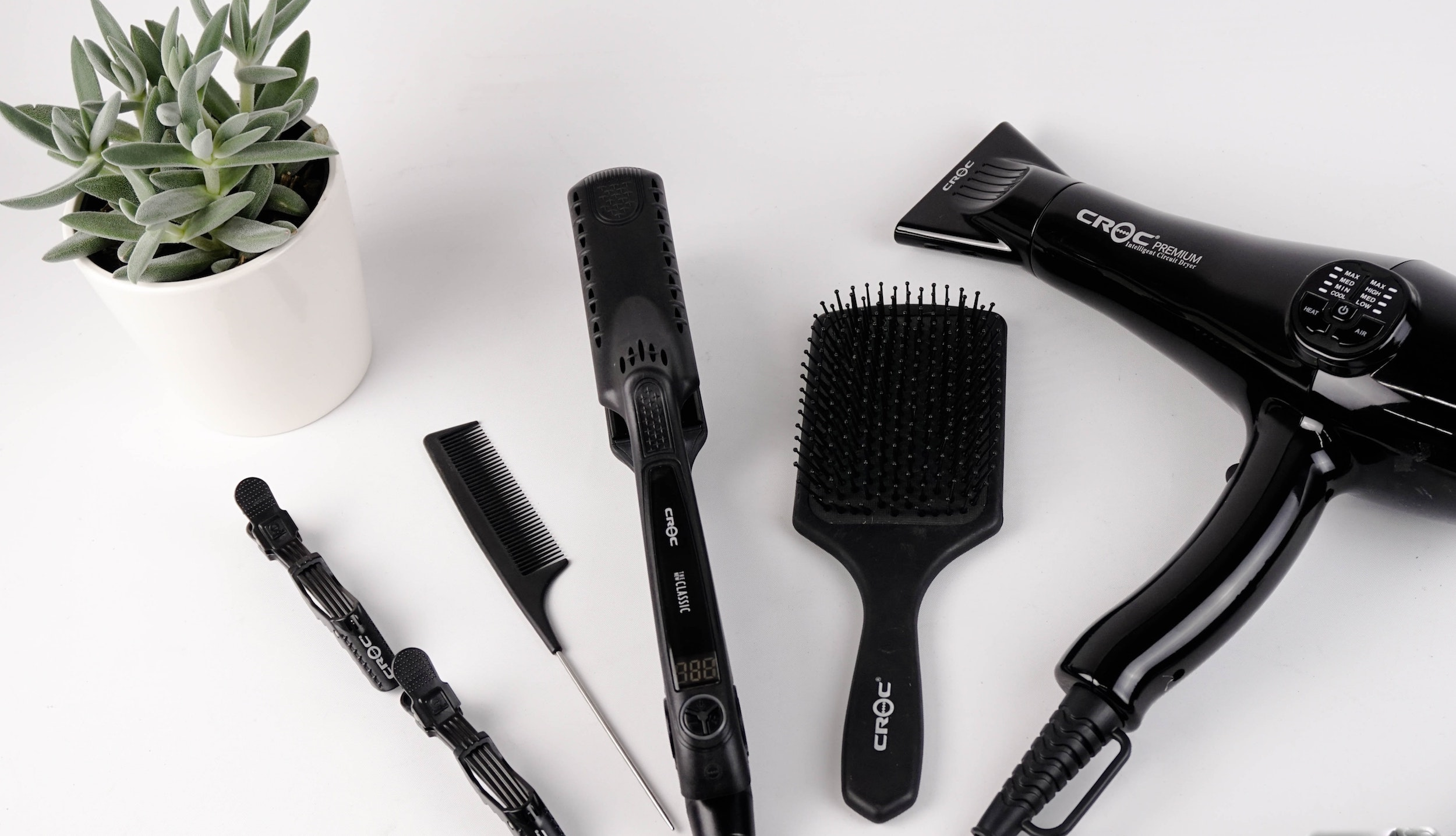 hair tools on a white background