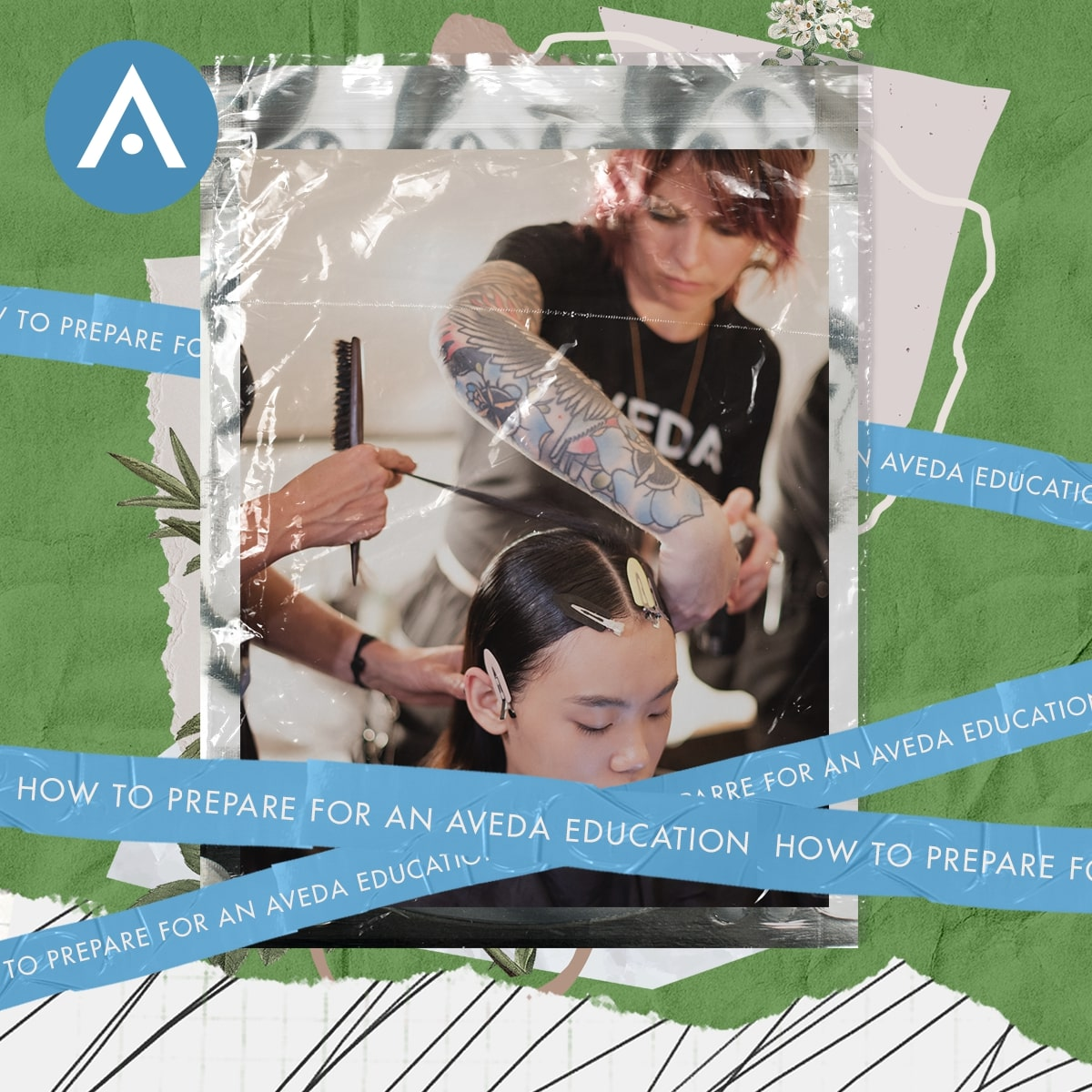 Aveda student working on client's hair